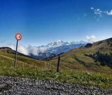 Mont Blanc dominates the vista from Route de la Soif RED